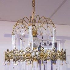 Vintage: INCREIBLE LAMPARA DE TRES LUCES, DE LATÓN Y CRISTAL EN UN MAGNIFICO ESTADO.. Lote 182270363