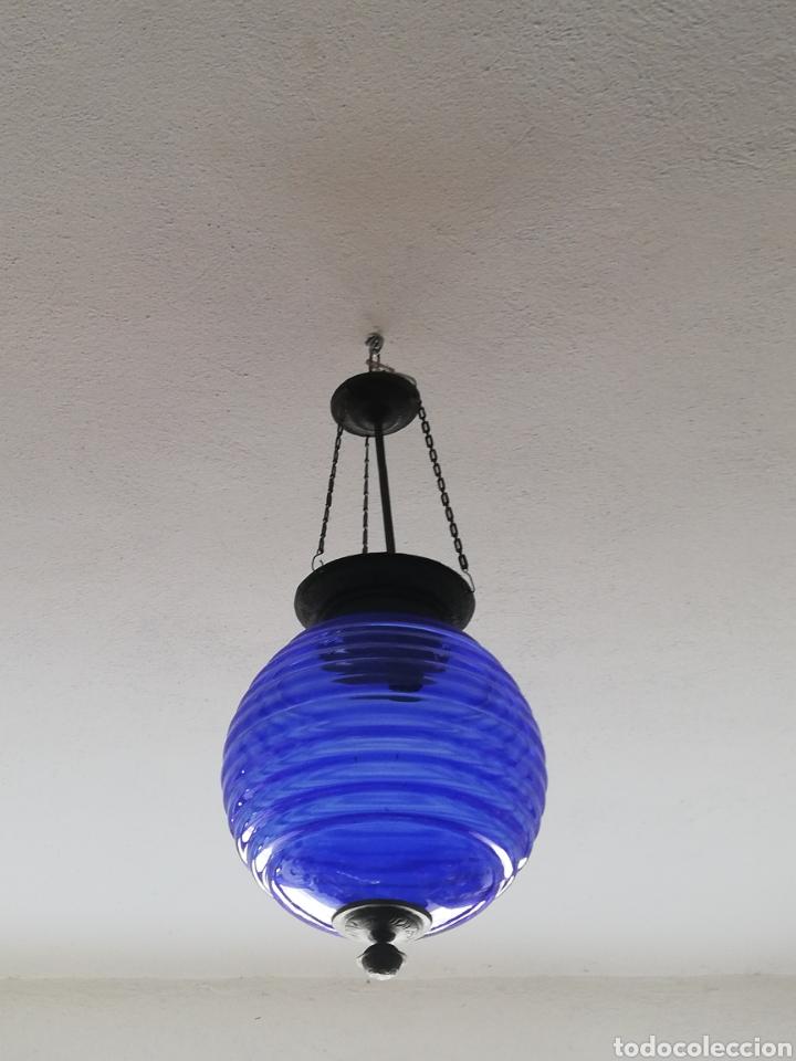BONITA LAMPARA CON GRAN BOLA DE TECHO ESTILO MODERNISTA EN BRONCE Y CRISTAL (Vintage - Lámparas, Apliques, Candelabros y Faroles)