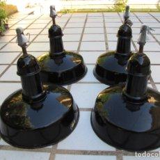 Vintage: LOTE 4 LÁMPARAS INDUSTRIALES NEGRAS ESMALTADAS. MARCA EGSA. Lote 183180216