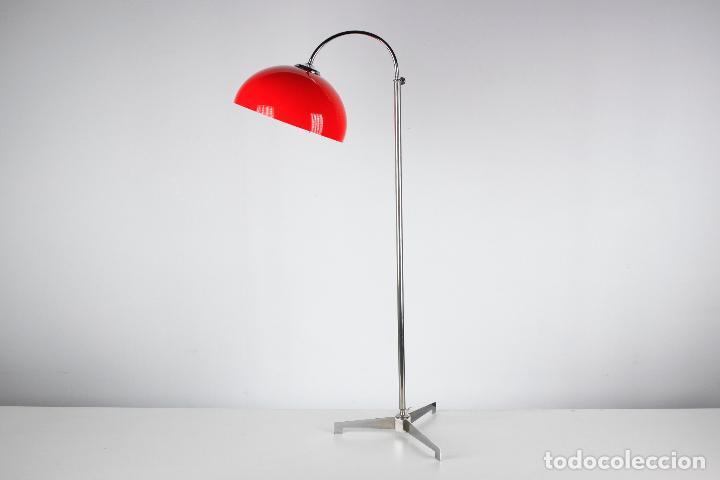 Vintage: Lampara de pie seta cromado rojo vintage retro space age España 60s - Foto 6 - 183393438