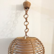 Vintage: ANTIGUA LAMPARA DE TECHO, DE BAMBÚ - VINTAGE AÑOS 50-60 - FUNCIONANDO. Lote 183507973