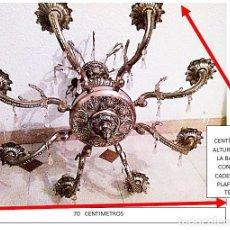 Vintage: LAMPARA DE BRONCE 8 BRAZOS. PARA TECHO. VER TODAS LAS FOTOS.. Lote 183903981