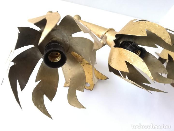 Vintage: Pareja de apliques de antorcha dorados con llamas - Foto 3 - 184100060