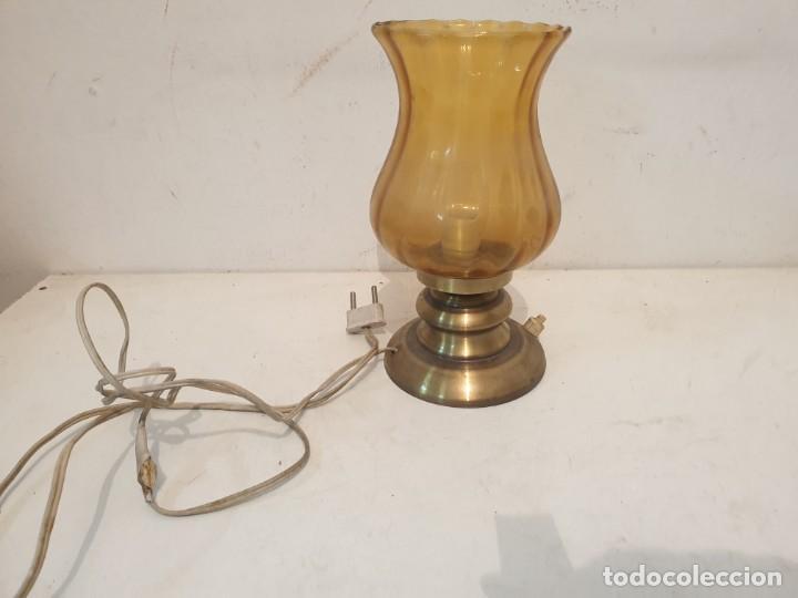 LAMPARITA BASE METAL LATON AÑOS 70 (Vintage - Lámparas, Apliques, Candelabros y Faroles)