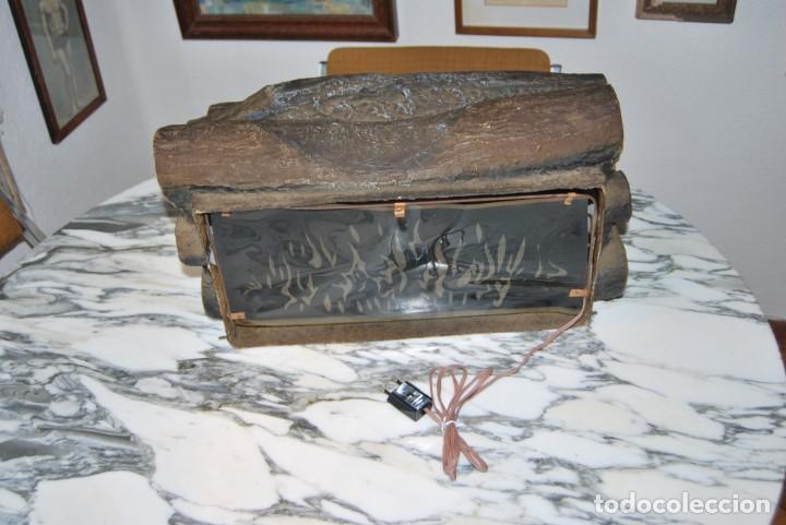 Vintage: LÁMPARA CHIMENEA - EFECTO LEÑA ARDIENDO- TRONCOS - AÑOS 60-70 - VINTAGE - Foto 9 - 184907648