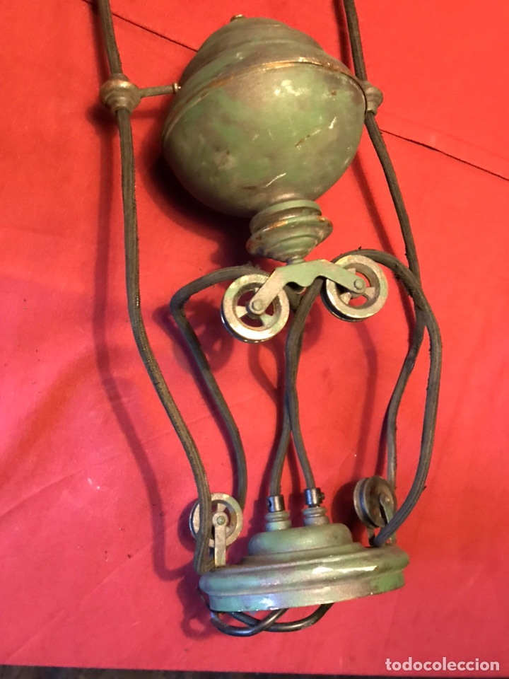 Vintage: Lámpara de billar de bronce con tulipas de opalina - Foto 3 - 184917416