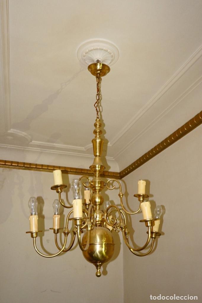 techos antigua chandelier lampara de dorada On80wXPk