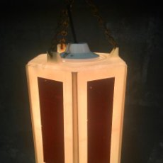 Vintage: LAMPARA COLGANTE HECHA CON BALIZA DE SEÑALIZACION DE SEGURIDAD REFLECTANTE ILUMINACION INDUSTRIAL. Lote 62969252