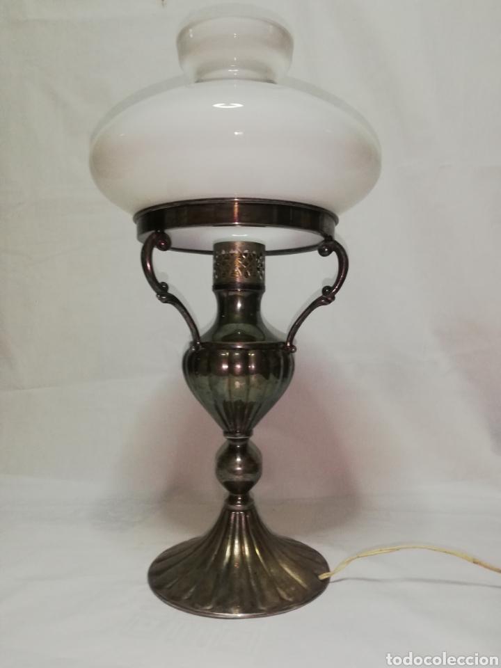 metal 70 antigua tulipa tipo plata mesa en blanca vintage años Lampara opalina quinque y de color T1c3FKJl