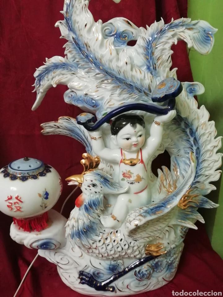 Vintage: Lámpara porcelana china - Foto 2 - 188437748