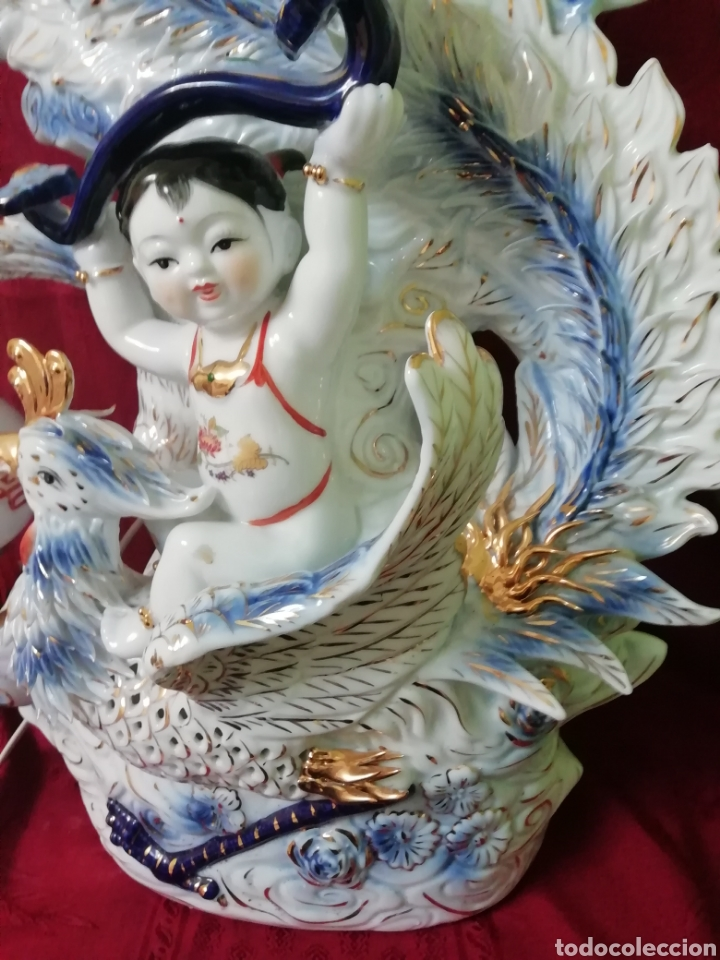 Vintage: Lámpara porcelana china - Foto 6 - 188437748