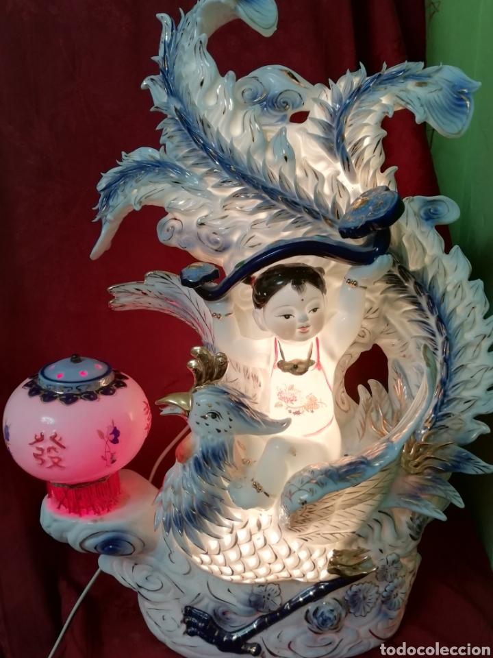 Vintage: Lámpara porcelana china - Foto 7 - 188437748