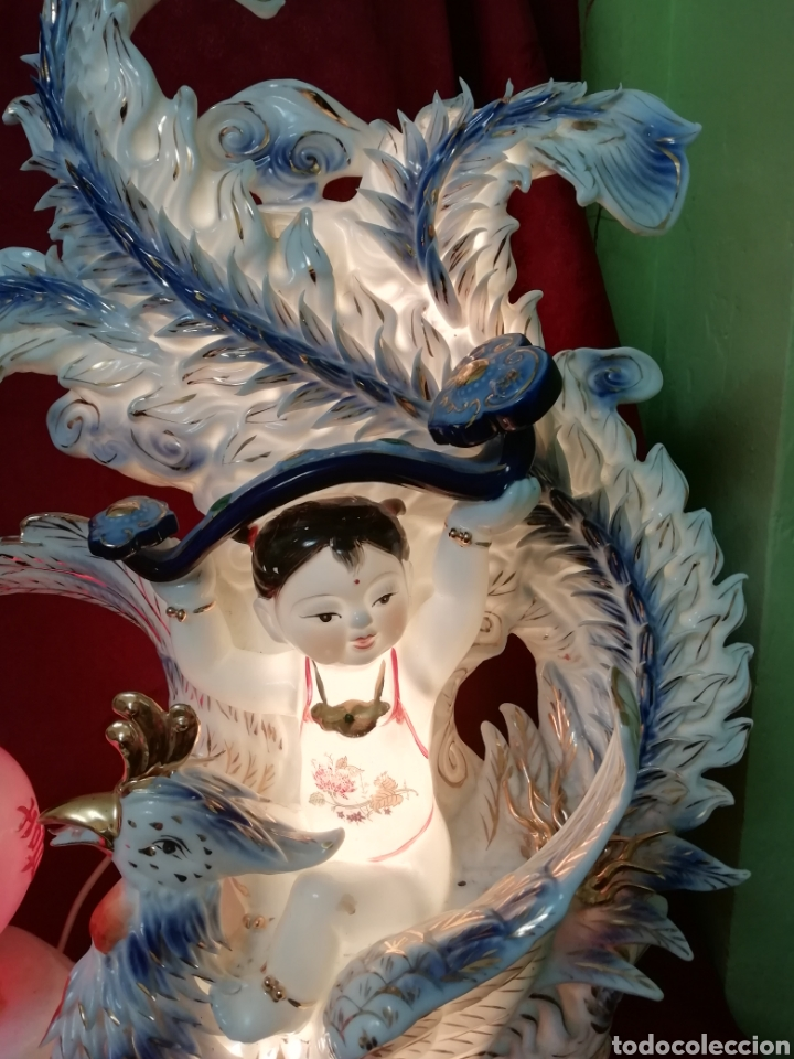 Vintage: Lámpara porcelana china - Foto 8 - 188437748