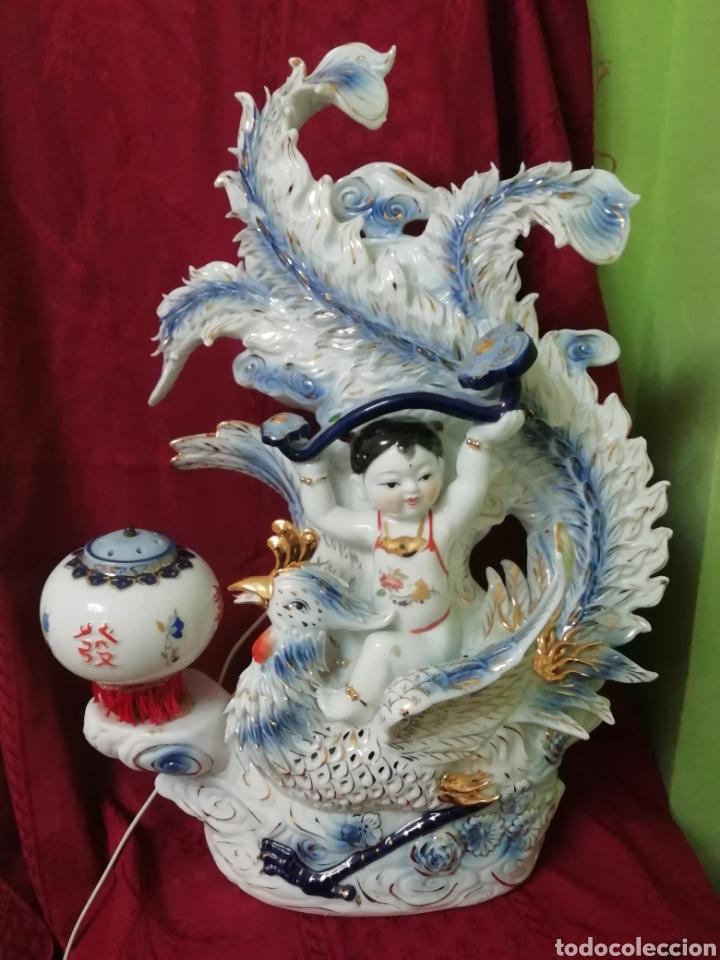 LÁMPARA PORCELANA CHINA (Vintage - Lámparas, Apliques, Candelabros y Faroles)