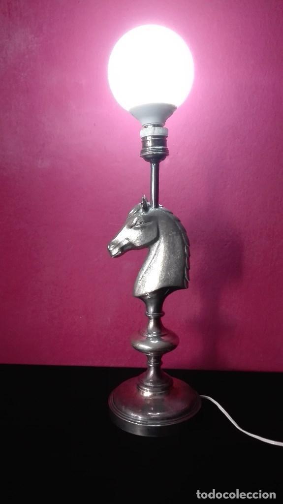 LAMPARA CABALLO METAL (Vintage - Lámparas, Apliques, Candelabros y Faroles)