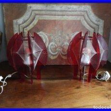 Vintage: PRECIOSAS LAMPARAS PANTALLAS VINTAGE EN COLOR ROJO. Lote 190282777