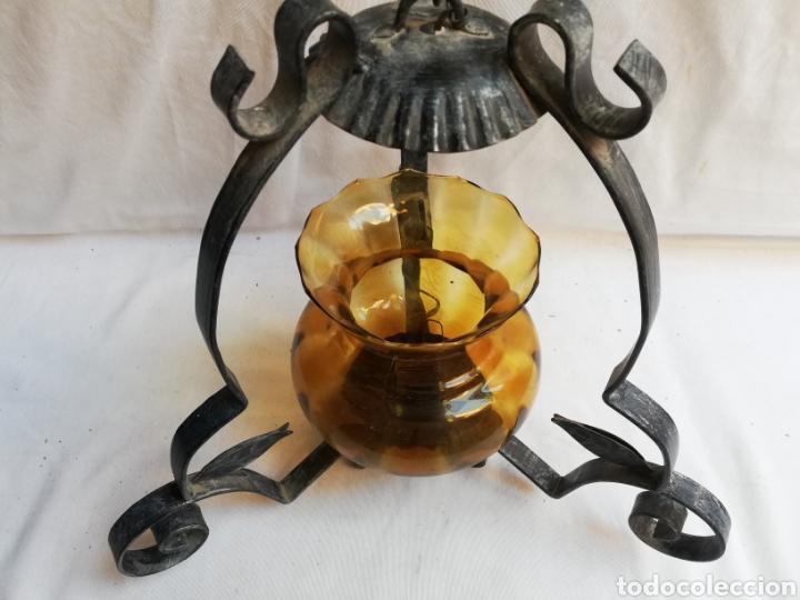 LAMPARA DE TECHO. FAROL EN HIERRO Y TULIPA CRISTAL ÁMBAR. (Vintage - Lámparas, Apliques, Candelabros y Faroles)