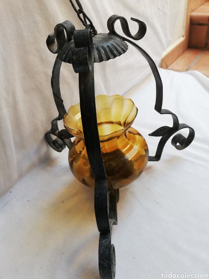 Vintage: LAMPARA DE TECHO. FAROL EN HIERRO Y TULIPA CRISTAL ÁMBAR. - Foto 4 - 190754348