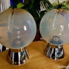 Vintage: SET 2 LAMPARAS MAZZEGA MURANO GLASS SOBREMESA. Lote 191499316