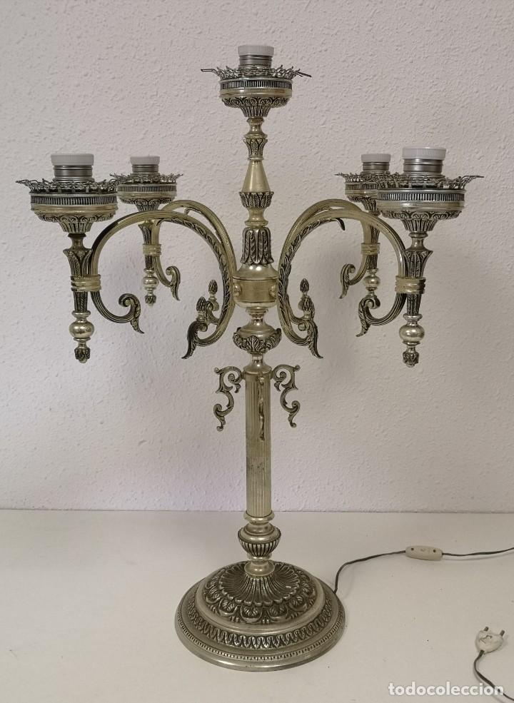 Vintage: Gran lámpara de sobremesa de 5 brazos y 80 cm - Foto 2 - 194225053