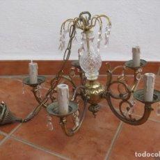 Vintage: LÁMPARA DE TECHO METAL CON CRISTALES.. Lote 194297686