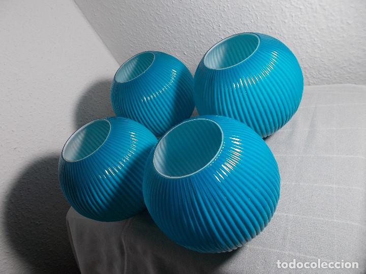 LOTE TULIPAS HERMOSO COLOR AZUL (Vintage - Lámparas, Apliques, Candelabros y Faroles)