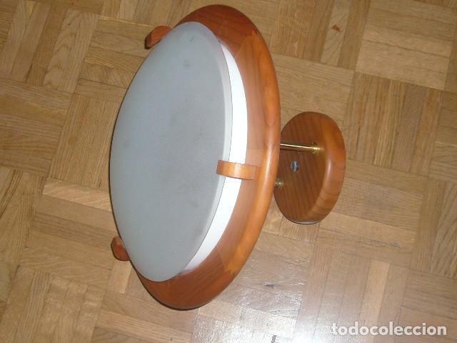LAMPARA DE TECHO DE MADERA Y VIDRIO (DIAMETRO 36 CM) (Vintage - Lámparas, Apliques, Candelabros y Faroles)