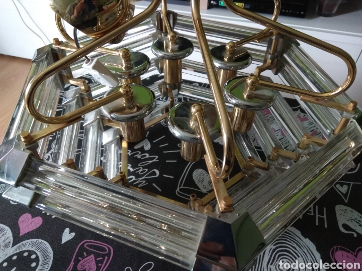 Vintage: Lampara de techo años 80 /90 acero cromado dorado y metacrilato - Foto 4 - 194501803