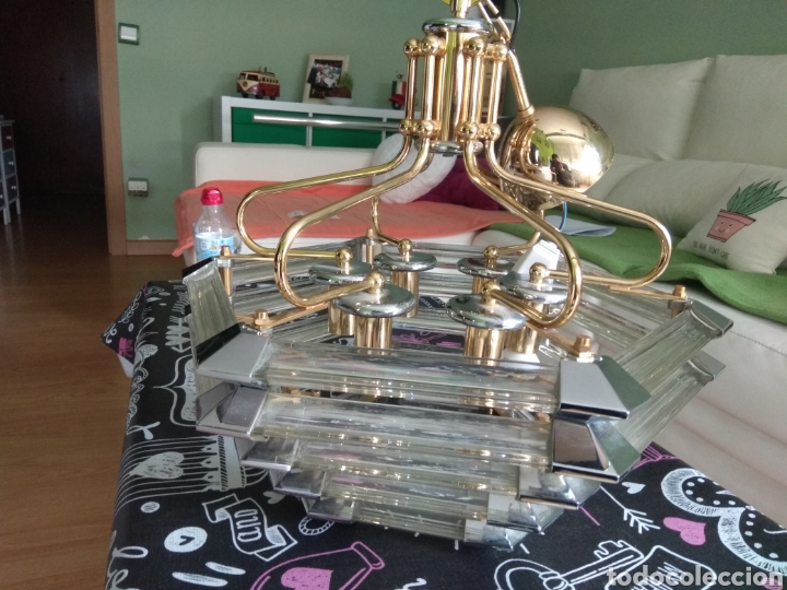 LAMPARA DE TECHO AÑOS 80 /90 ACERO CROMADO DORADO Y METACRILATO (Vintage - Lámparas, Apliques, Candelabros y Faroles)