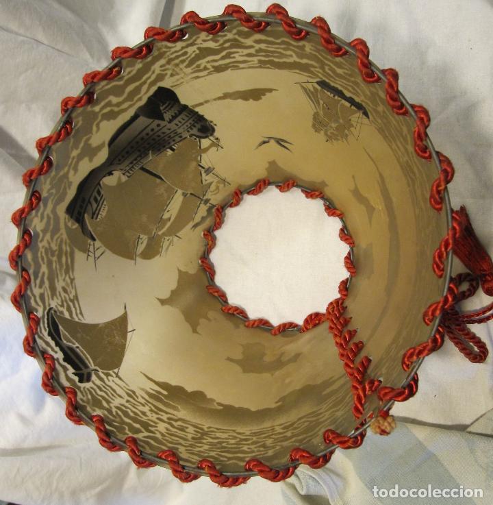 Vintage: PANTALLA LAMPARA CELULOIDE. AÑOS 30. BARCOS Y VELEROS ESTAMPADOS. ALT. 18 CM. DIAM SUPERIOR 12 CM. - Foto 5 - 194508997