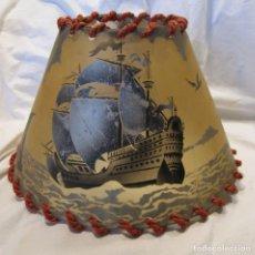 Vintage: PANTALLA LAMPARA CELULOIDE. AÑOS 30. BARCOS Y VELEROS ESTAMPADOS. ALT. 18 CM. DIAM SUPERIOR 12 CM. . Lote 194508997