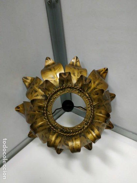 Vintage: Aplica lampara antigua metal diseño vintage forma de sol o flor - Foto 4 - 194604511
