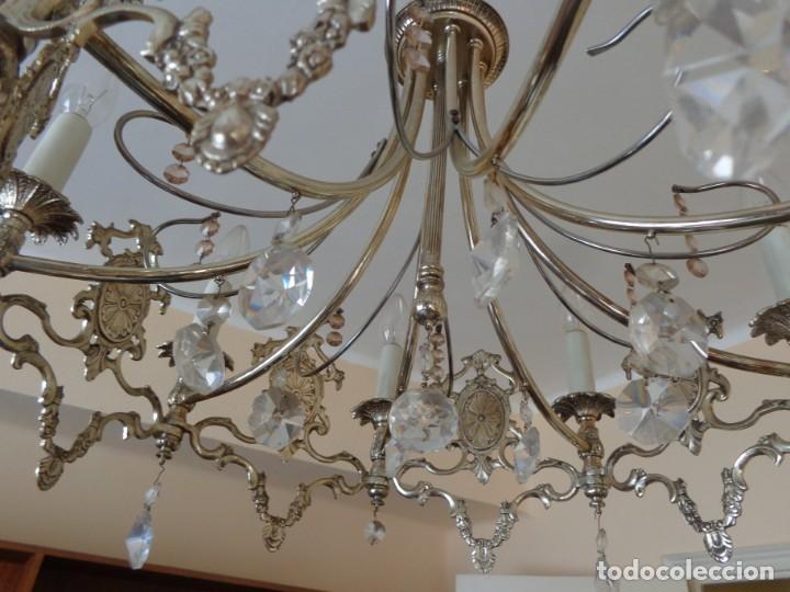 Vintage: ANTIGUA AÑOS 60 RETRO VINTAGE Y PRECIOSA LAMPARA ALPACA PLATEADA, TOTALMENTE COMPLETA FUNCIONANDO B - Foto 6 - 194610395