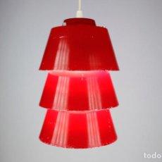 Vintage: LAMPARA TECHO PHILIPS ROJO VINTAGE SPACE AGE HOLANDA AÑOS 70. Lote 194654827