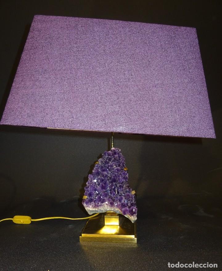 Vintage: Lámpara de mesa Willy Daro con piedra de amatista- Bélgica, 70s - Foto 49 - 194879873