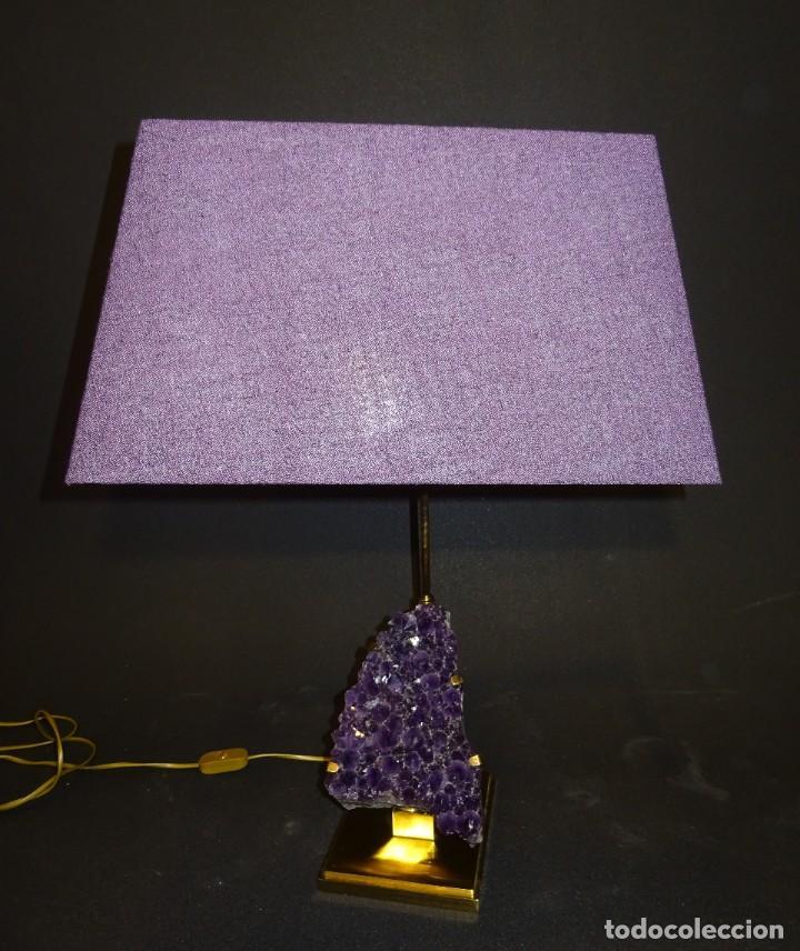 Vintage: Lámpara de mesa Willy Daro con piedra de amatista- Bélgica, 70s - Foto 3 - 194879873