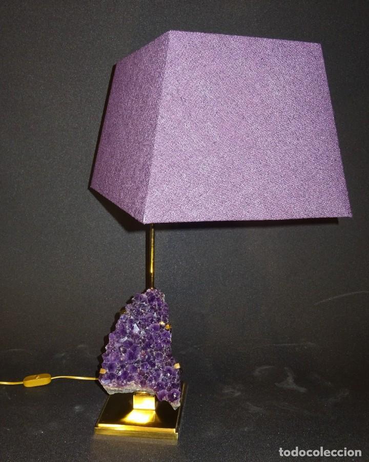 Vintage: Lámpara de mesa Willy Daro con piedra de amatista- Bélgica, 70s - Foto 8 - 194879873