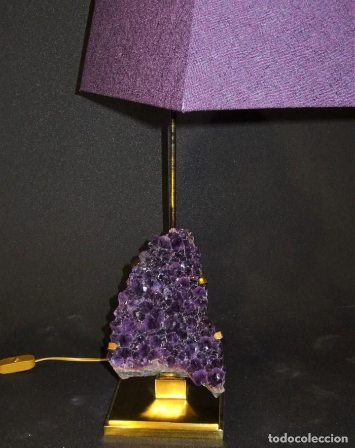 Vintage: Lámpara de mesa Willy Daro con piedra de amatista- Bélgica, 70s - Foto 9 - 194879873