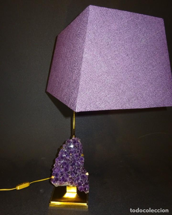 Vintage: Lámpara de mesa Willy Daro con piedra de amatista- Bélgica, 70s - Foto 10 - 194879873