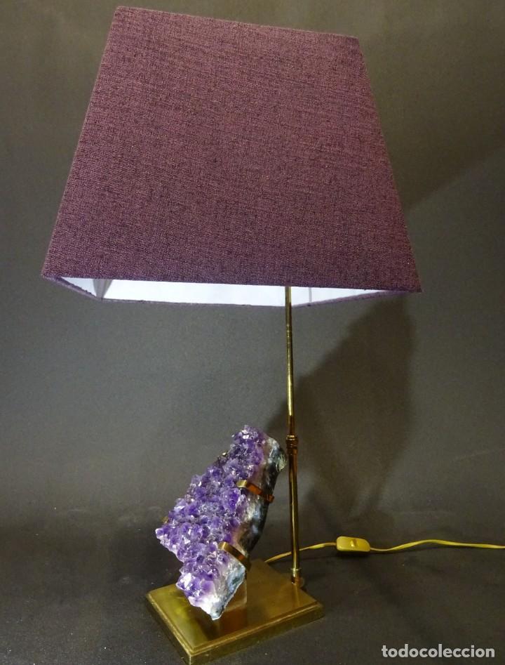 Vintage: Lámpara de mesa Willy Daro con piedra de amatista- Bélgica, 70s - Foto 23 - 194879873