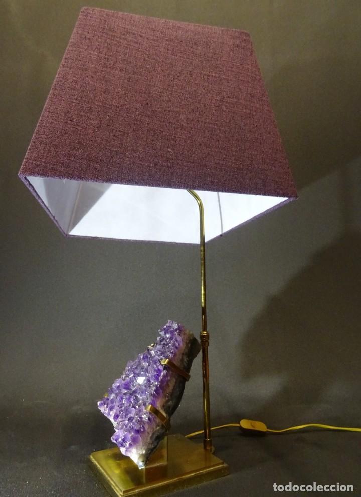 Vintage: Lámpara de mesa Willy Daro con piedra de amatista- Bélgica, 70s - Foto 24 - 194879873