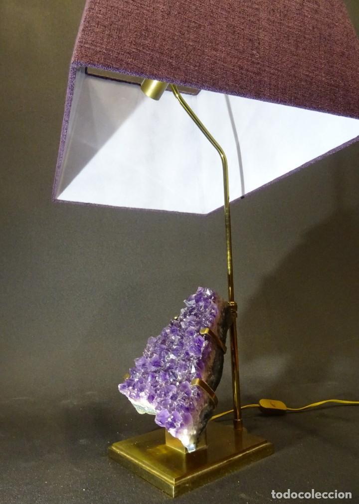 Vintage: Lámpara de mesa Willy Daro con piedra de amatista- Bélgica, 70s - Foto 25 - 194879873