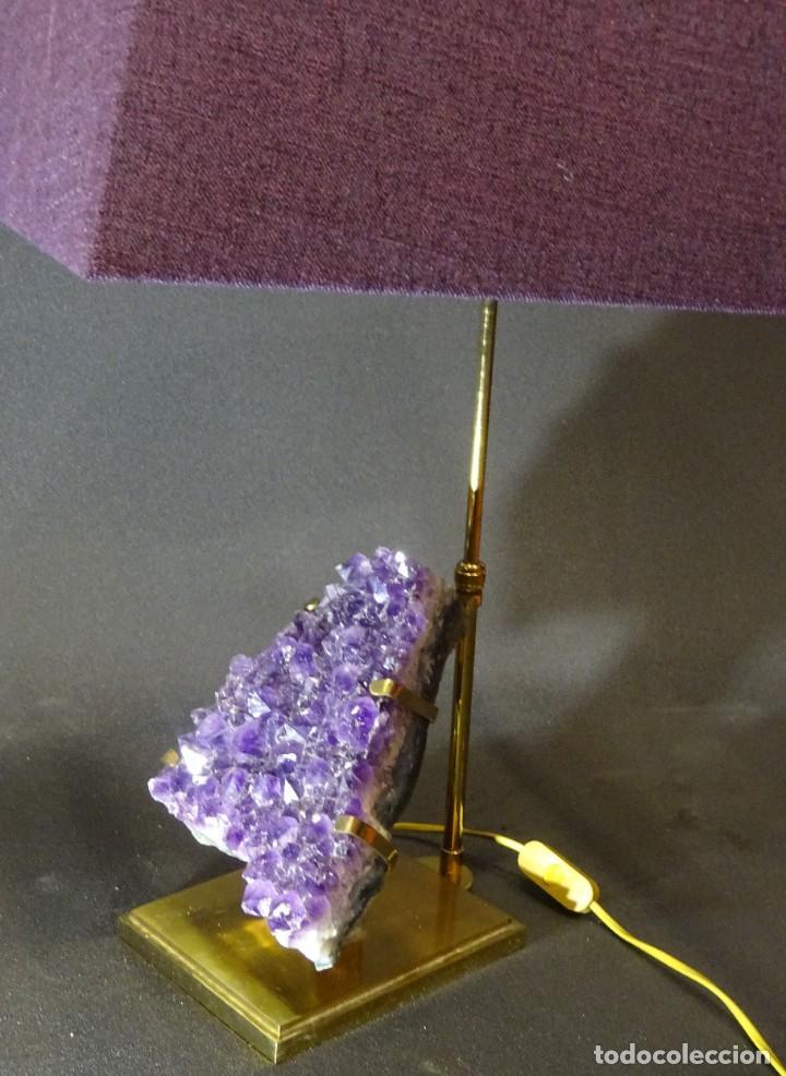 Vintage: Lámpara de mesa Willy Daro con piedra de amatista- Bélgica, 70s - Foto 30 - 194879873