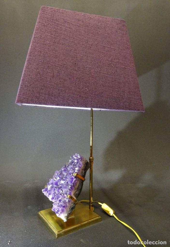 Vintage: Lámpara de mesa Willy Daro con piedra de amatista- Bélgica, 70s - Foto 31 - 194879873