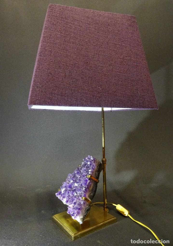 Vintage: Lámpara de mesa Willy Daro con piedra de amatista- Bélgica, 70s - Foto 32 - 194879873