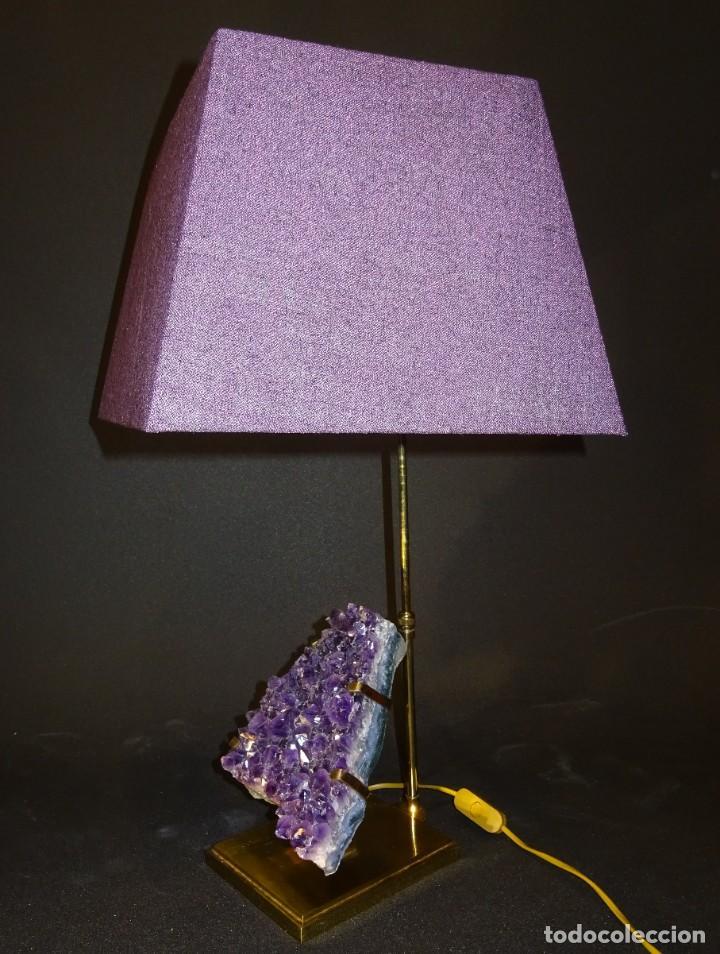 Vintage: Lámpara de mesa Willy Daro con piedra de amatista- Bélgica, 70s - Foto 33 - 194879873