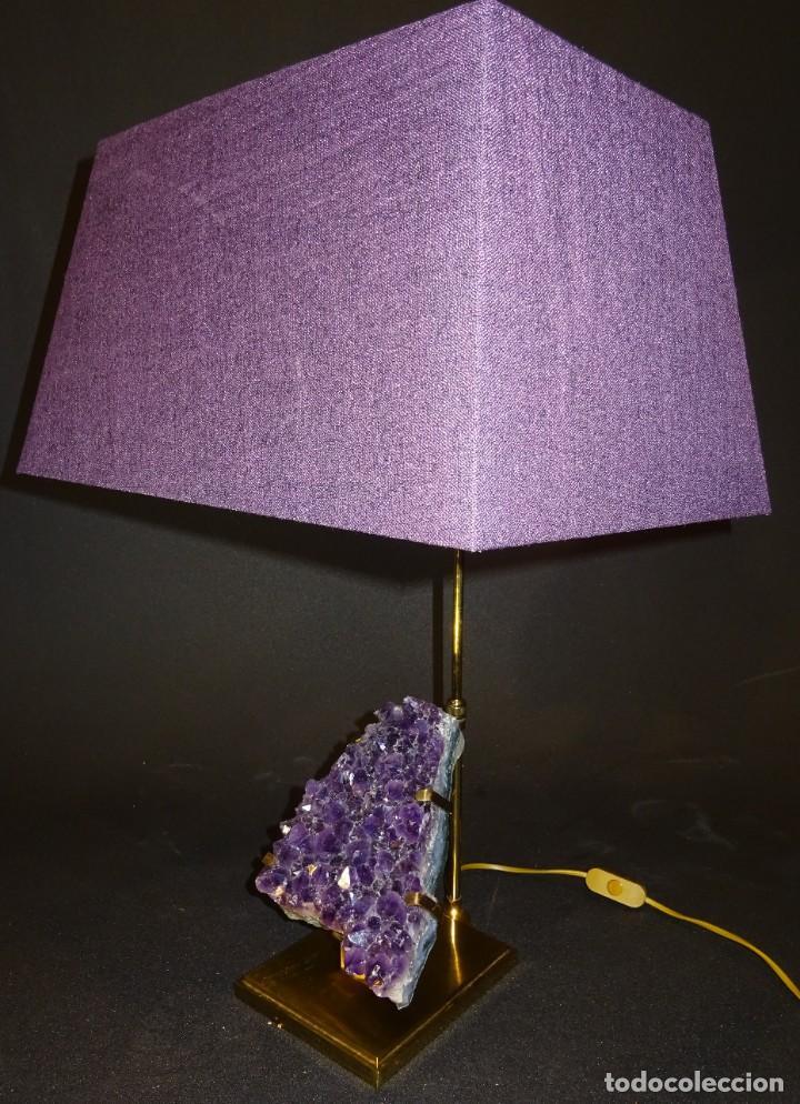 Vintage: Lámpara de mesa Willy Daro con piedra de amatista- Bélgica, 70s - Foto 35 - 194879873