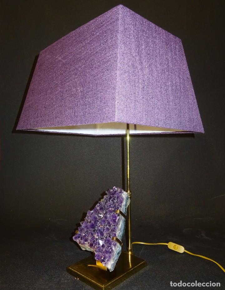 Vintage: Lámpara de mesa Willy Daro con piedra de amatista- Bélgica, 70s - Foto 36 - 194879873