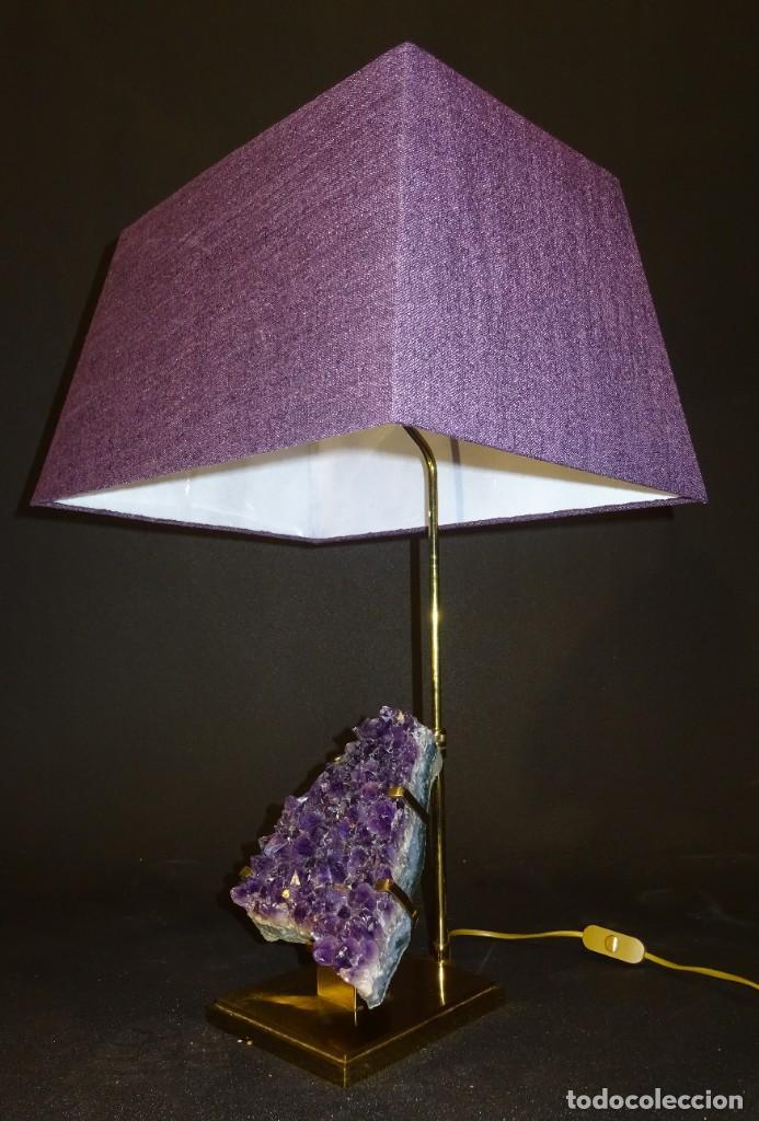 Vintage: Lámpara de mesa Willy Daro con piedra de amatista- Bélgica, 70s - Foto 37 - 194879873