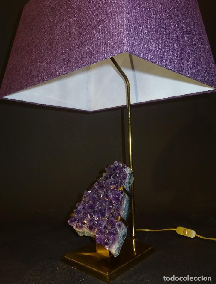 Vintage: Lámpara de mesa Willy Daro con piedra de amatista- Bélgica, 70s - Foto 38 - 194879873